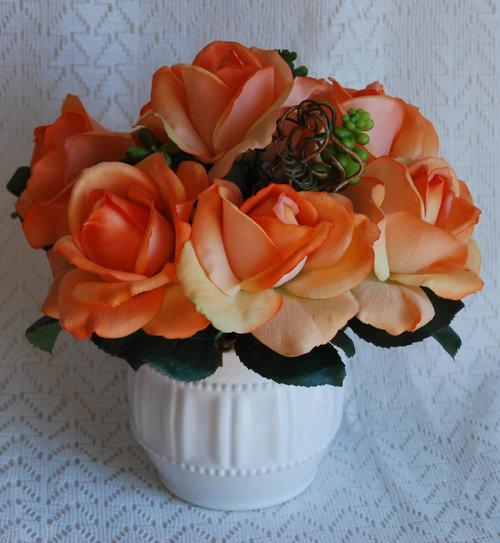 Silk flower centerpiece real touch orange roses in a white ceramic silk flower centerpiece real touch orange roses in a white ceramic vase modern centerpiece silk floral arrangement flower arrangement mightylinksfo