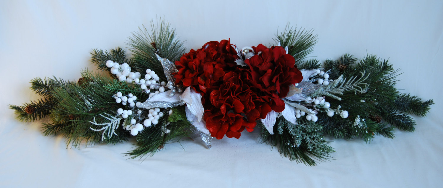 Christmas Table Arrangements Flowers.Christmas Table Centerpiece Faux Greenery Red Silk Hydrangea And White Poinsettia Christmas Decoration Floral Designs By Alka