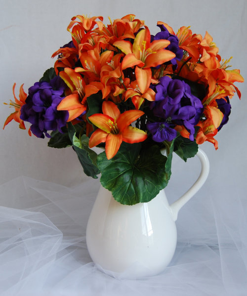 Silk floral arrangement artificial orange lilies orange and purple silk floral arrangement artificial orange lilies orange and purple arrangement faux flower arrangement home decor flower spring flowers mightylinksfo