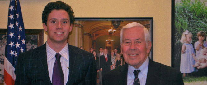 -Peter Ferrari with US Senator, and Beta, Richard Lugar, Denison '54