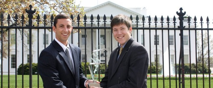 Former Chapter Presidents Ryan Boufford, San Diego '11 and Fred Myrtle, San Diego'11, accepting the NIC Award of Distinction in Washington, D.C.