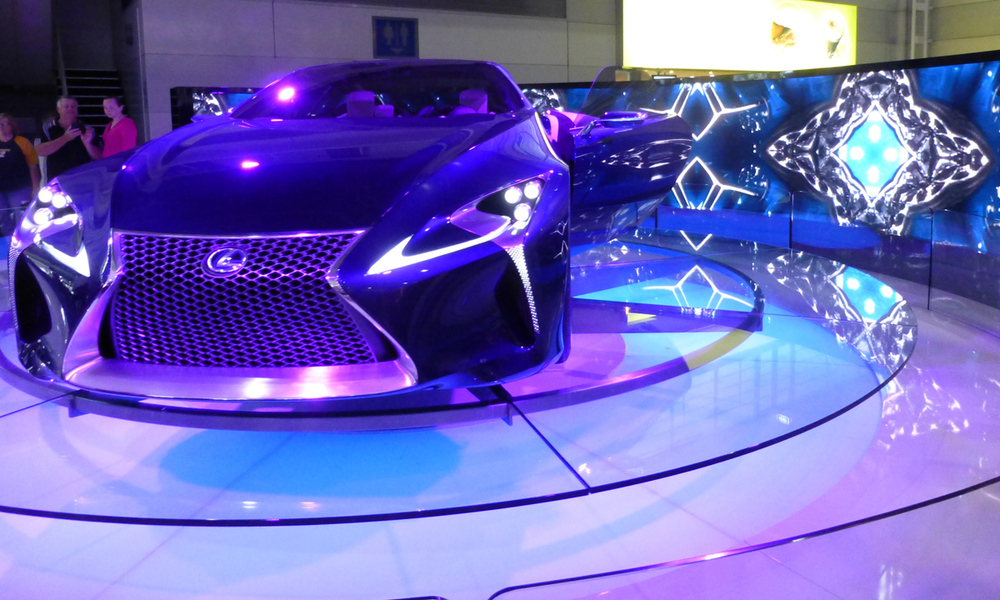 Electric blue lights at the Lexus concept stand