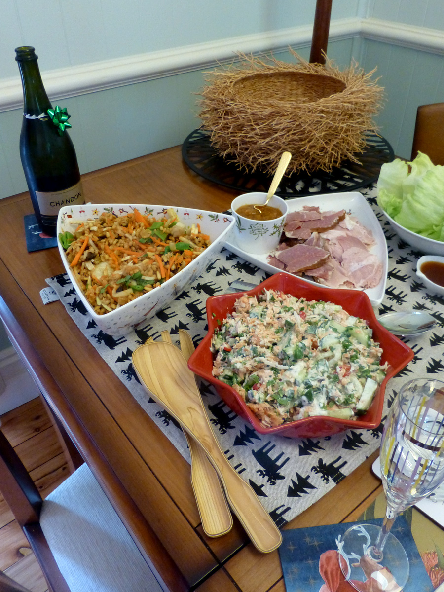 Boxing Day lunch was a chance for Geoff's family to come over, see the tree and share some salads. They brought san choy bow and roast duck to go with another round of smoked trout salad, barley and carrot salad and leftover ham.