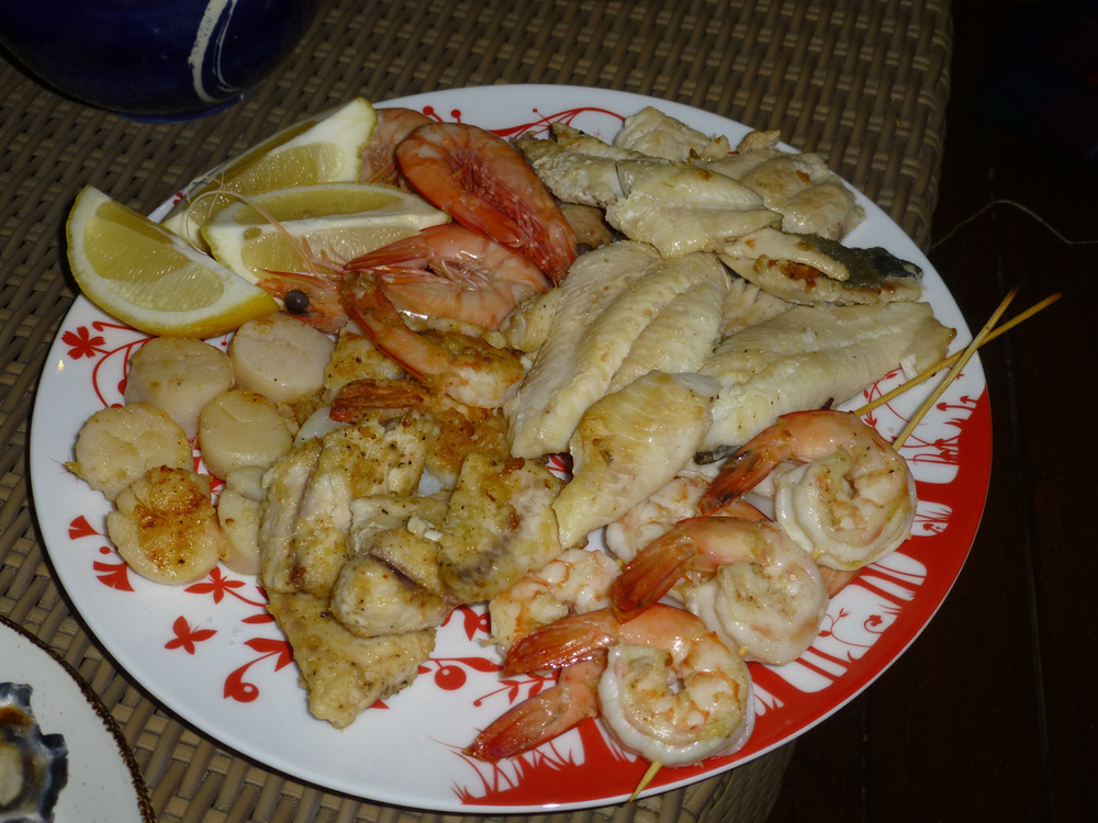 Seafood platter of scallops, prawns and fish