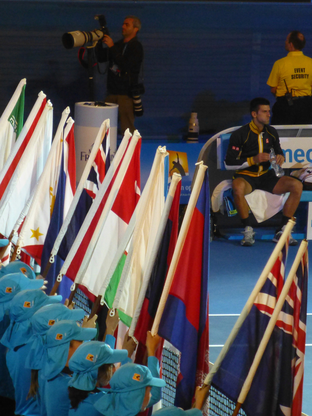 The parade of flags representing the players participating throughout the tournament