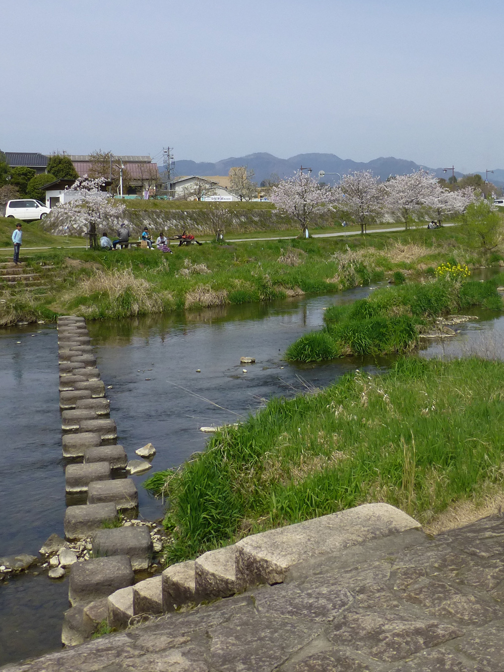 We enjoyed hopping over these stepping stones to reach the other side of the river bank.