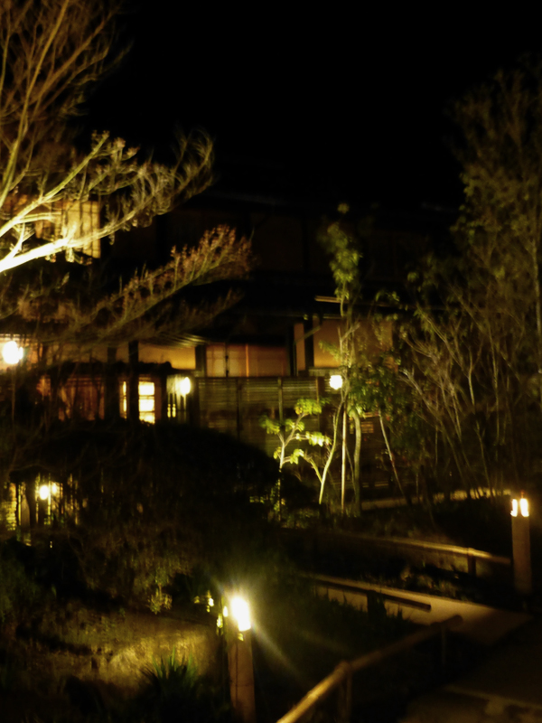 A dance of lanterns light up the Ryokan at night