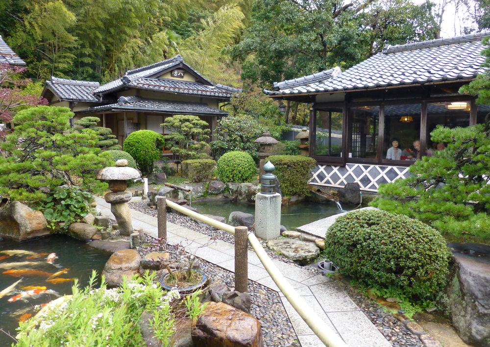 The koi pond and teahouse where we enjoyed soba noodles in hot broth.