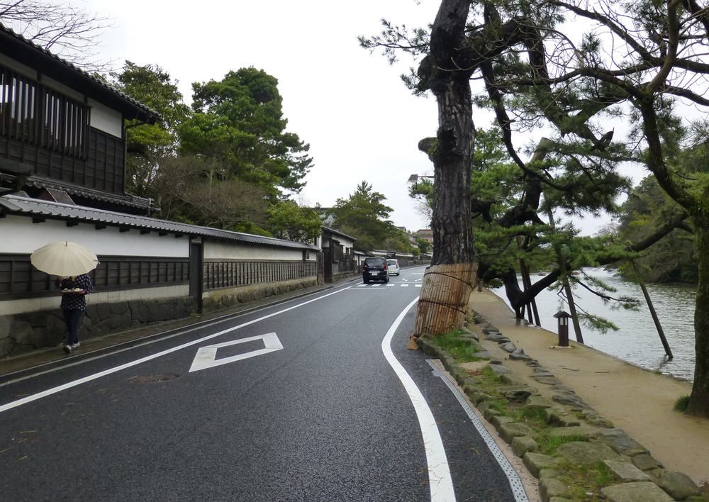 Walking along the banks of the samurai district