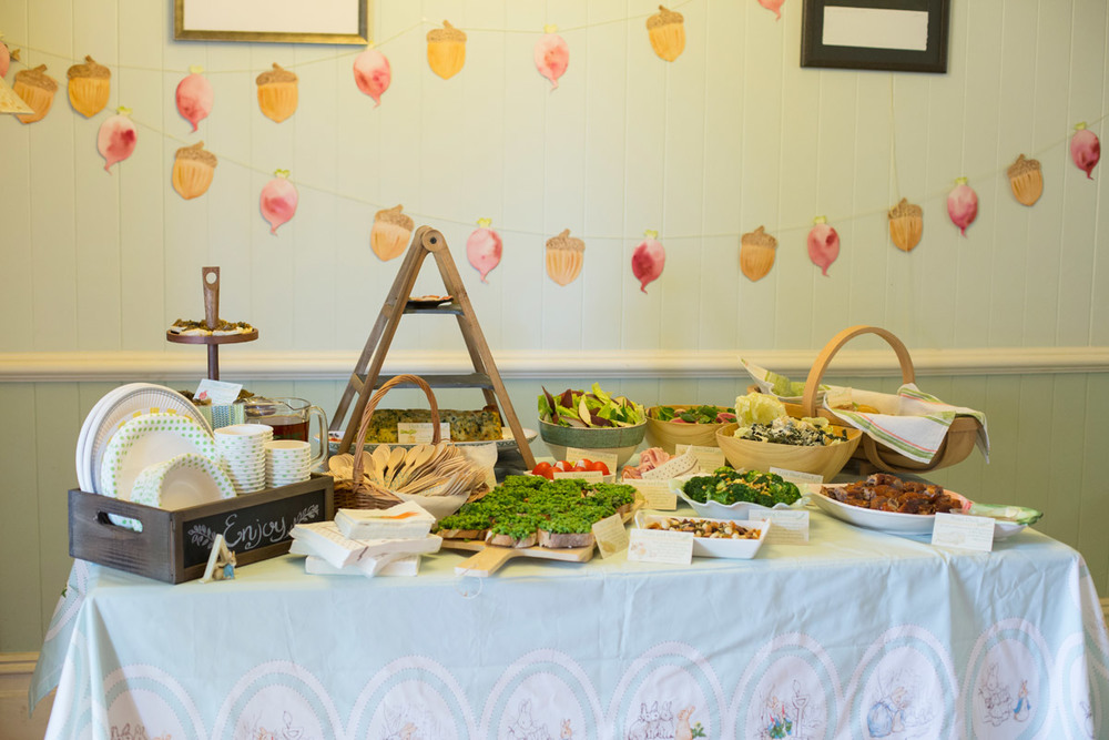 The table set for a Beatrix Potter inspired party feast.