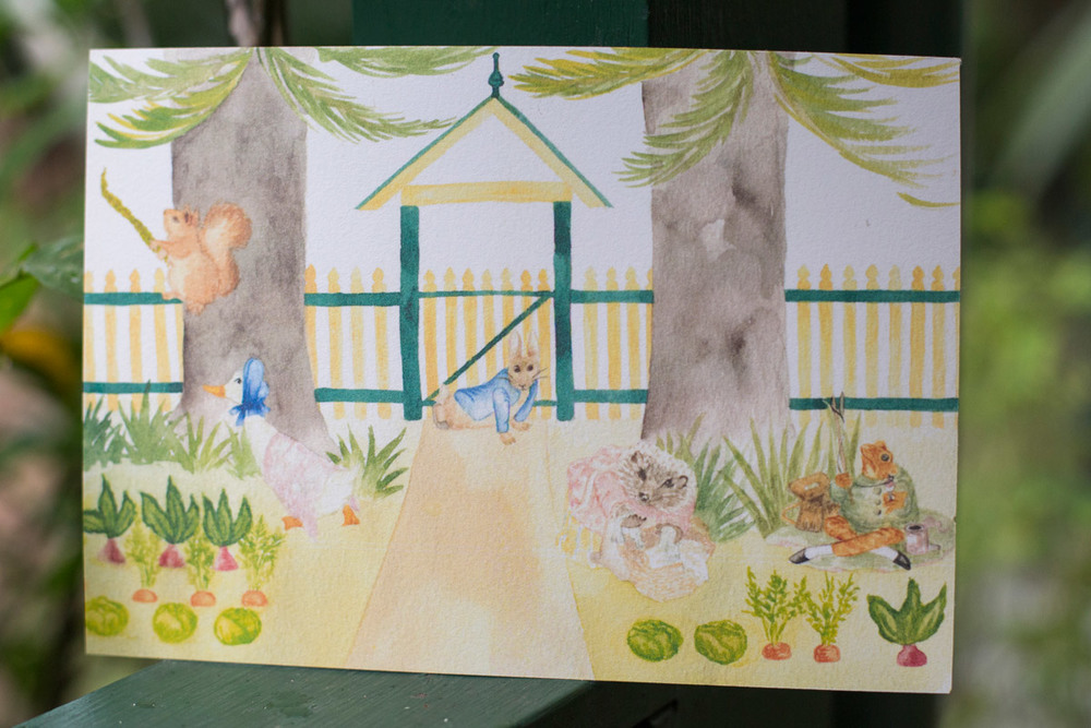 Front side of Aiden's Beatrix Potter themed party Invitation
