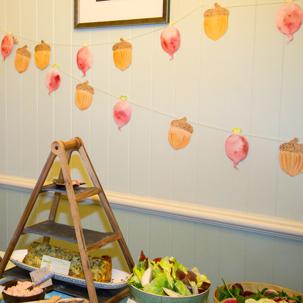 Hand-Painted radish and acorn bunting inspired by the Tales of Beatrix Potter