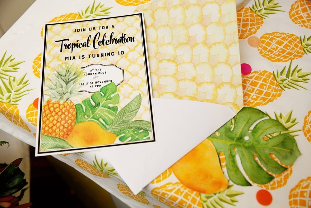 Tropical Celebration! Invitation design by ELK Prints. I created two custom watercolour illustrations for this design and matching envelope, the background and envelope liner is inspired by pineapple scales and Art Deco wallpapers.