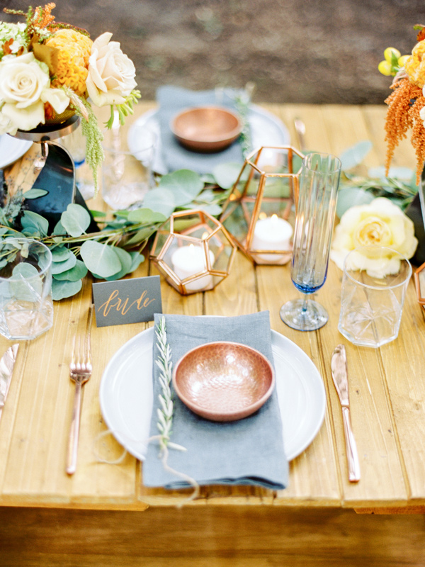 Copper and Slate inspiration. Styling by East Made Event Company and photography by Love by Serena.
