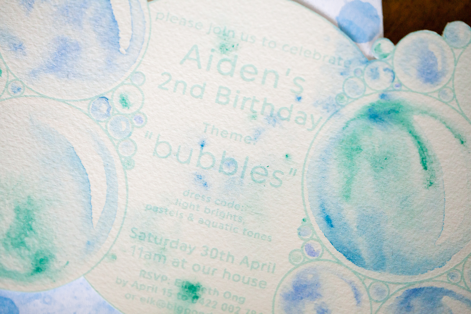 I loved designing and creating these invitations for the guests - it really helped set the tone for the party and conveyed clearly the watercolour bubble theme.
