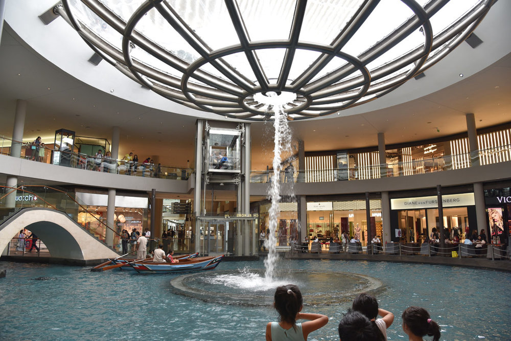 The water features at the Marina Bay Sands shopping gallery.