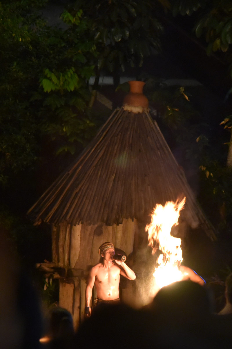 A fire show at the entrance.