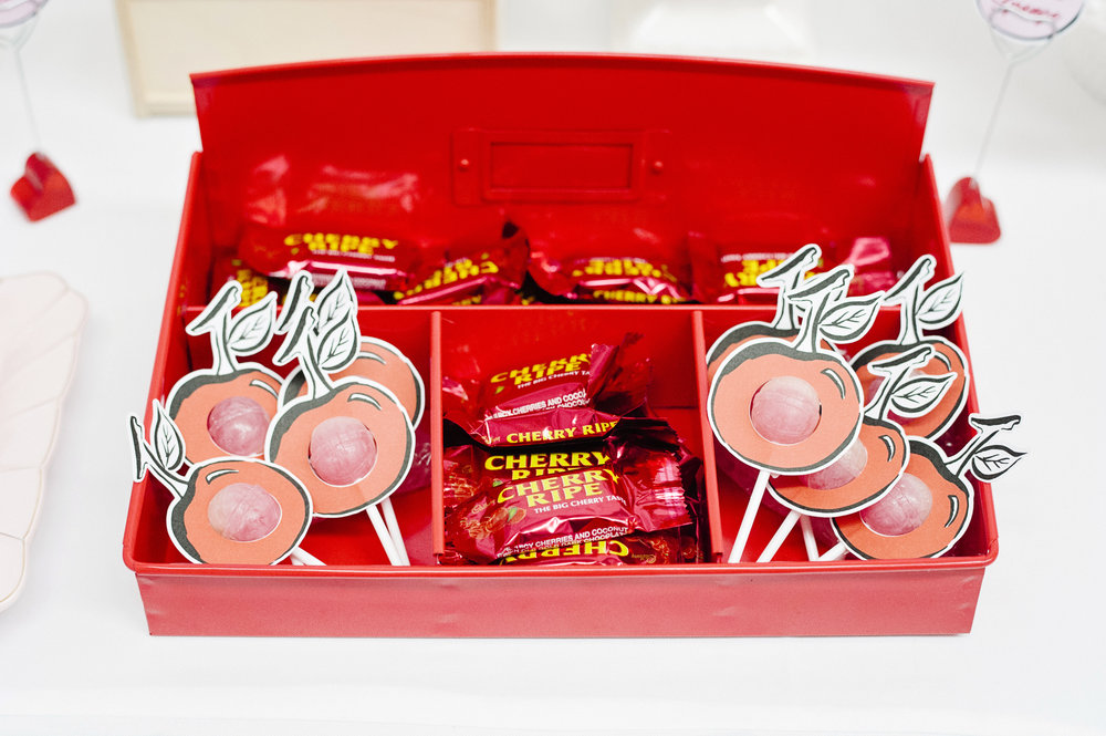 The lollipop holders are a signature creation of  Glitter and Glue designs  and this version uses my ink illustration to encircle a cherry flavoured Chuppa Chup.