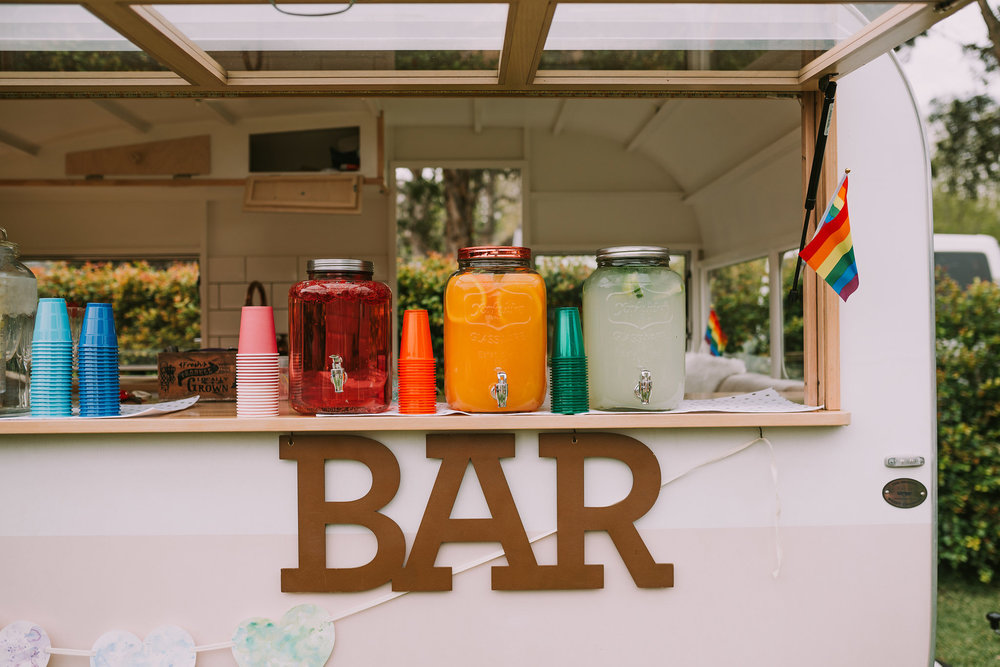 A full spectrum of refreshments were available at the My Little Peony Caravan Bar. Photo by Angus Porter Photography