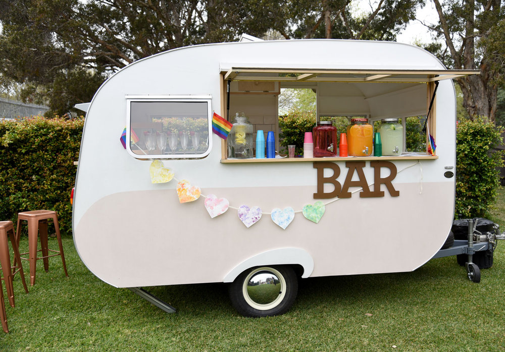 A rainbow of hearts grace the My Little Peony Caravan Bar. Photo, and bunting, by ELK Prints.