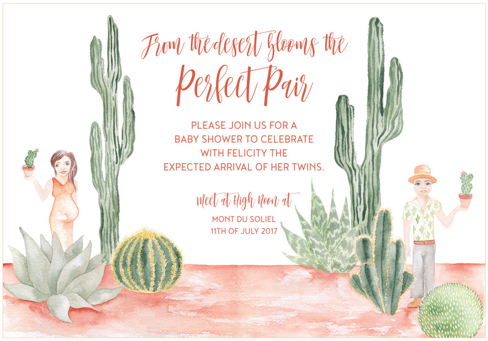 The central main invitation by ELK Prints features a desert scene with the parents to be on either side holding aloft the symbol of their expectant twins.