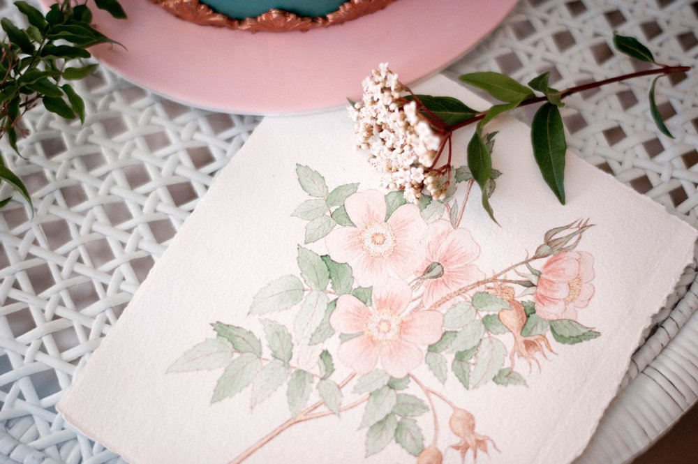 This original watercolour illustration was inspired by the vintage floral prints used on the wrapping paper