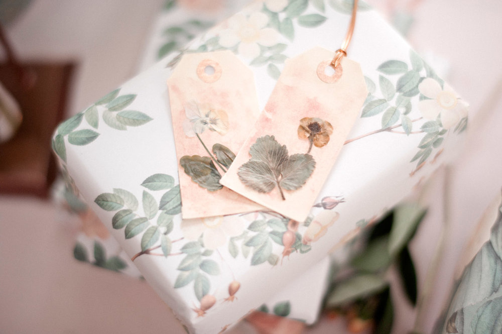 Victorian style pressed flower tags