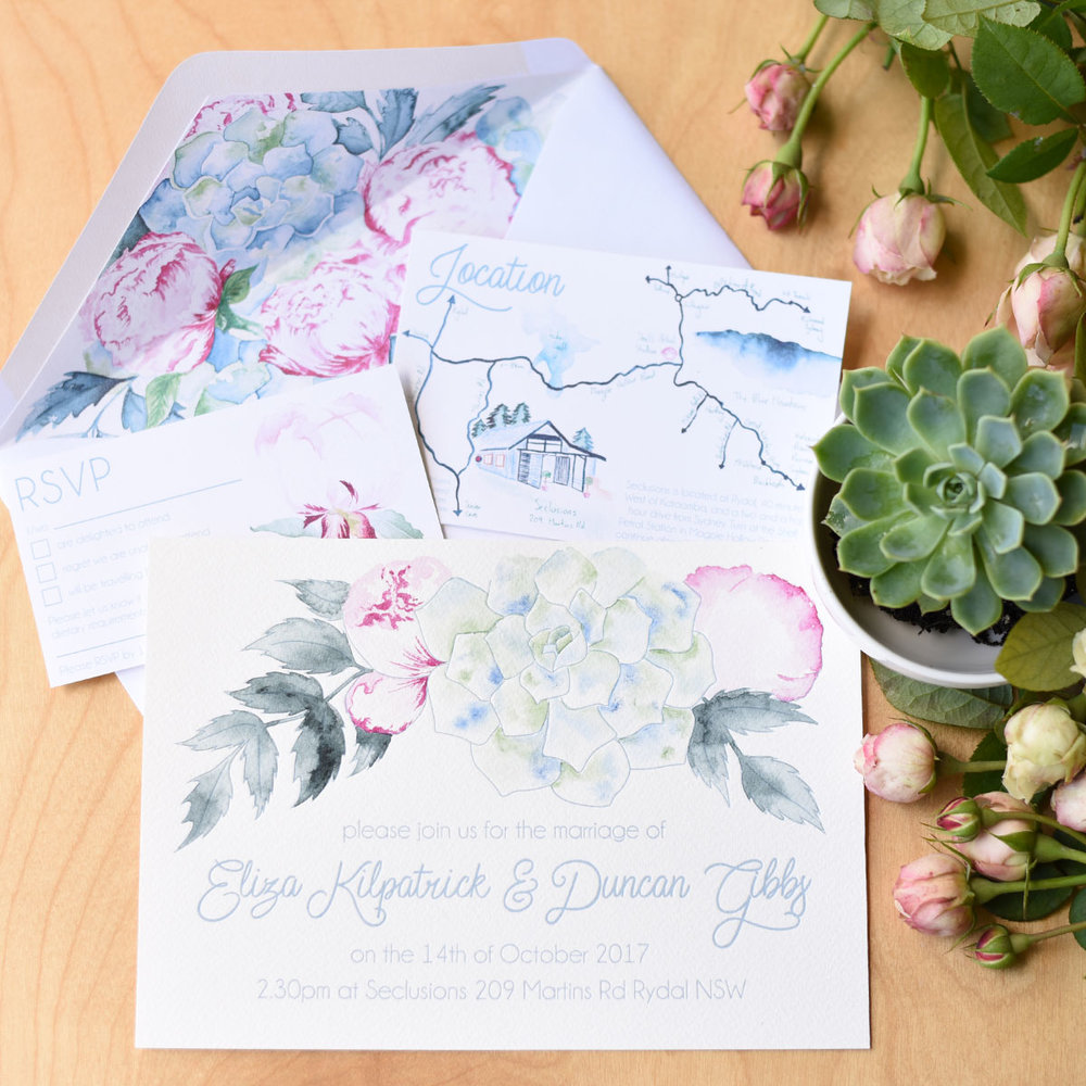 Bespoke letterpress and hand-painted watercolour wedding invitation suite for a botanical inspired Blue Mountains wedding.
