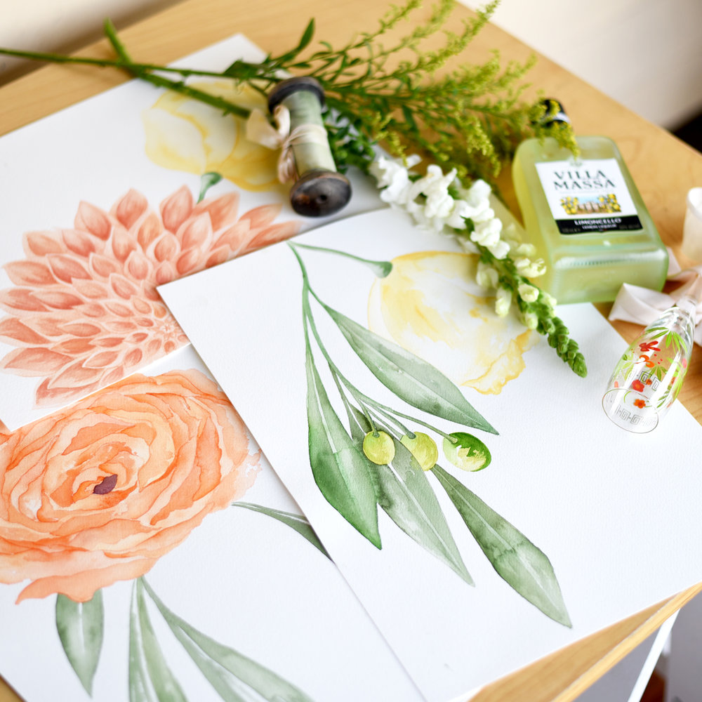 Original watercolour floral paintings for the Bella Vita commission by ELK Prints.