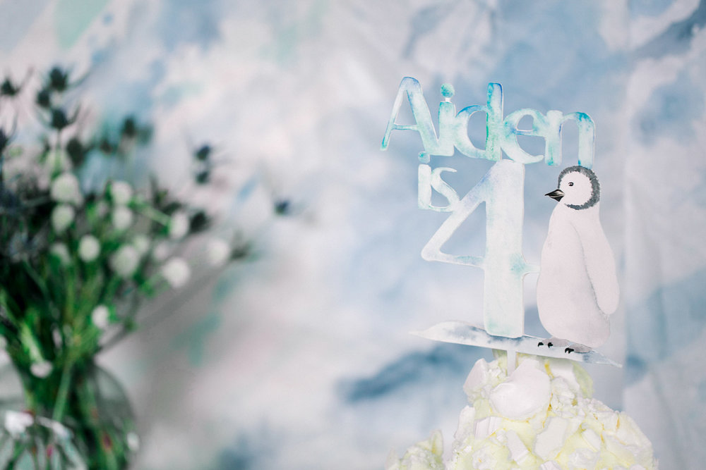 Bespoke Penguin Cake Topper in hand-painted watercolours