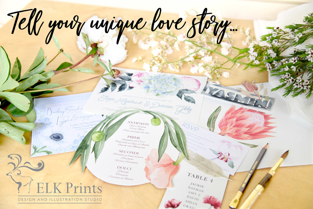 ELK Prints is a bespoke design and watercolour illustration studio that will help you tell your unique story from invitation suites through to event decor for the wedding day itself. I thrive on creativity and exploration, discovering the story behind a business or the individuals whose event I am working with and design something that reflects and communicates those values to your audience.