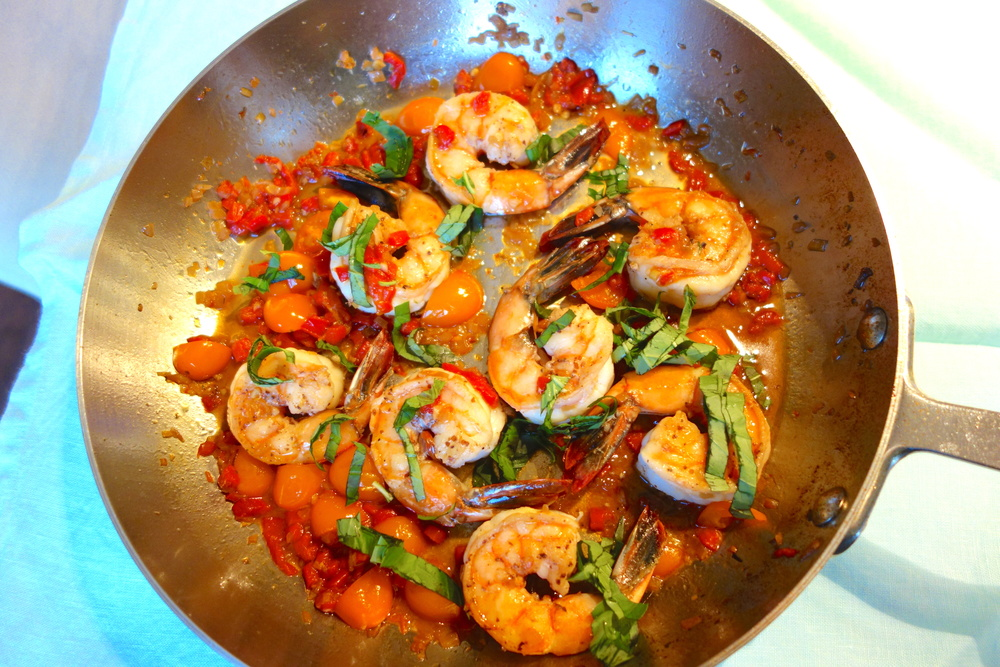 Sauteed Shrimp with Tomatoes and Basil www.ChristineCushing.com
