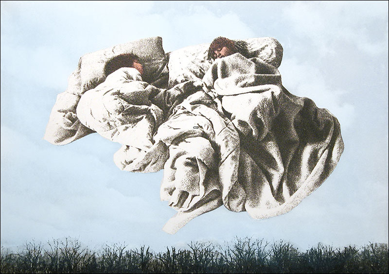 """Angels While They Sleep I    Photo Etching and Drypoint  15 1/2"""" x 22""""    © 1989 Mary Trevor. All rights reserved."""