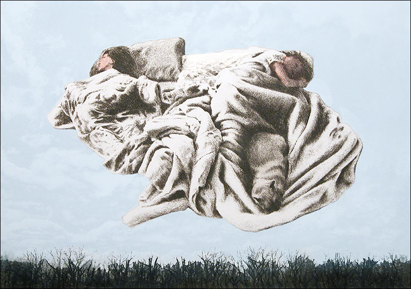 """Angels While They Sleep III    Photo Etching and Drypoint  15 1/2"""" x 22""""    © 1989 Mary Trevor. All rights reserved."""