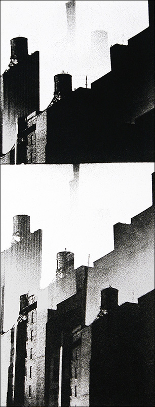 """Double Exposure    Photo etching  17"""" x 6 1/2""""    © 1982 Mary Trevor. All rights reserved."""