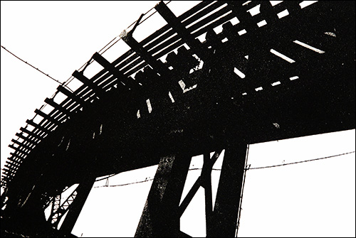 "Untitled (Elevated Tracks)  Photo etching  11"" x 7 1/2""    © 1982 Mary Trevor. All rights reserved."