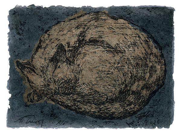 "Cat Nap II Etching on hand-made, dyed, paper 5"" x 7"" © 1987 Mary Trevor. All rights reserved."