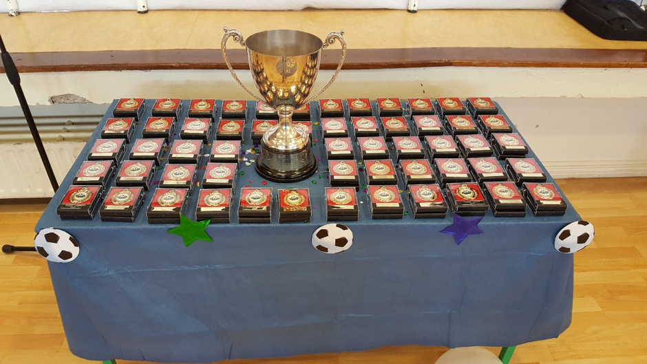 Trophy and medals from our football league presentation 2017