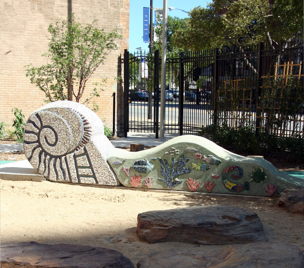 Mosaic and concrete play sculpture, Near North Montessori School, Chicago, Illinois