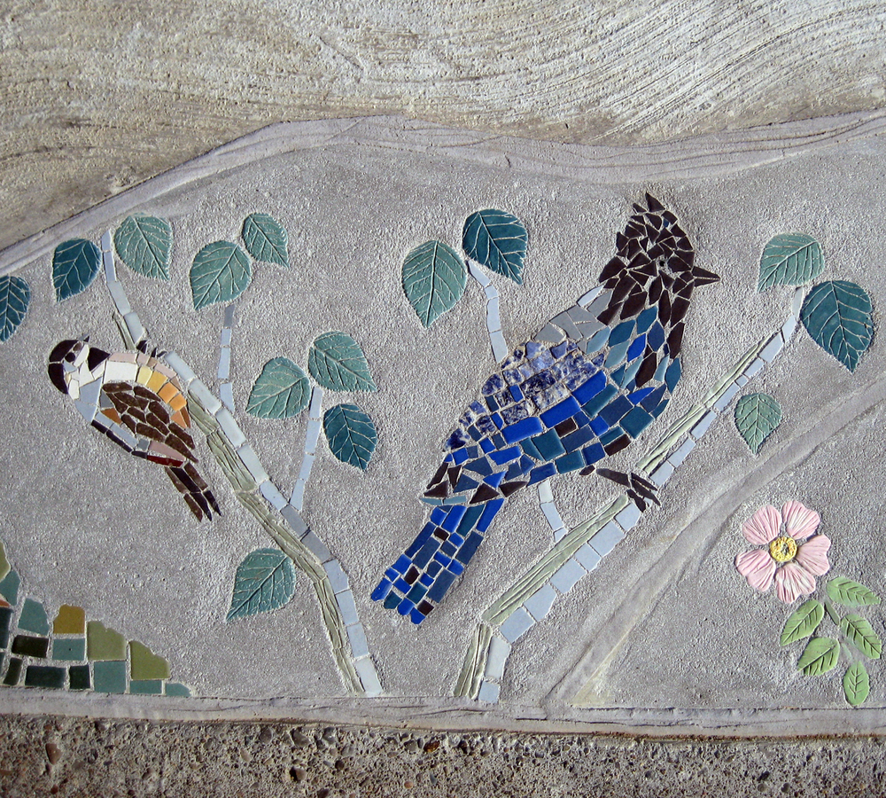 Chicadee, Steller's jay and rose mosaic by Lynn Takata
