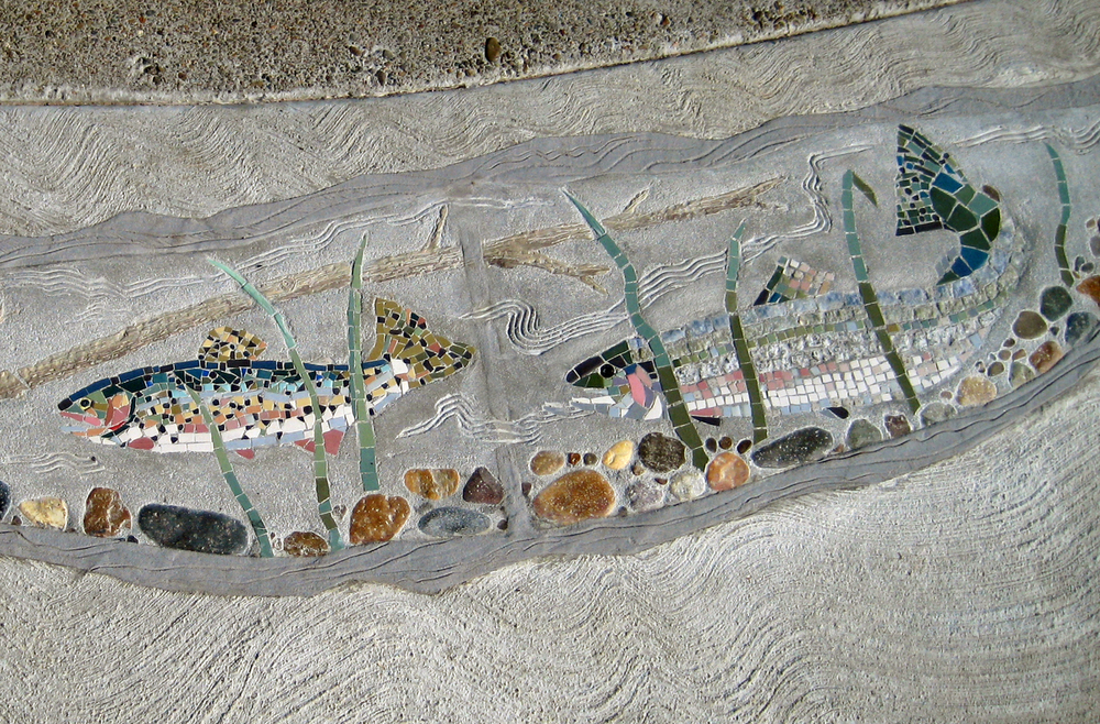 Cutthroat trout and steelhead mosaic sidewalk for wildlife viewpoint
