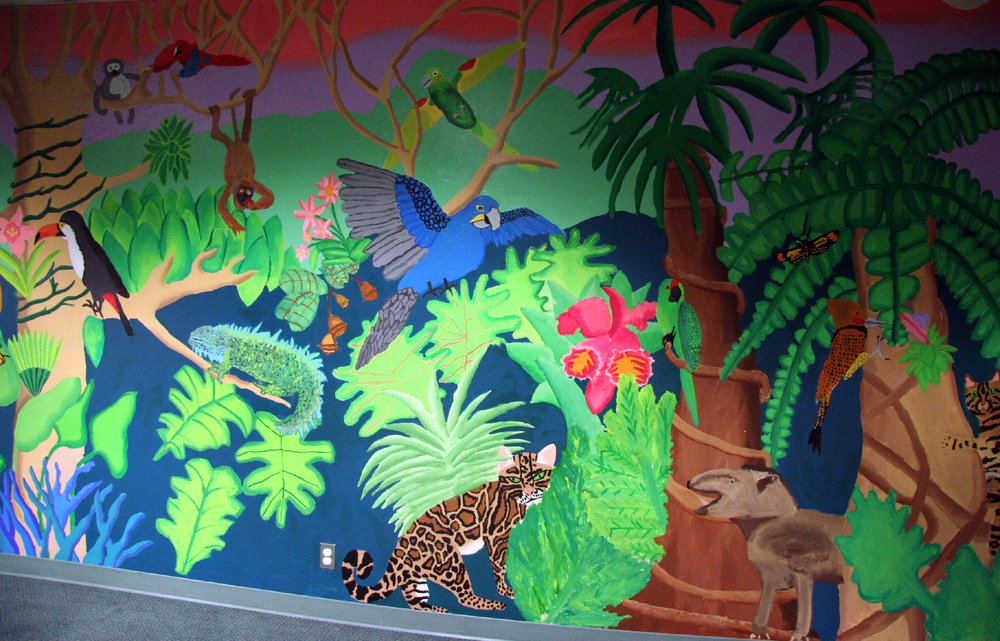 Rainforest mural with children, Corvallis-Benton Library, Corvallis, Oregon