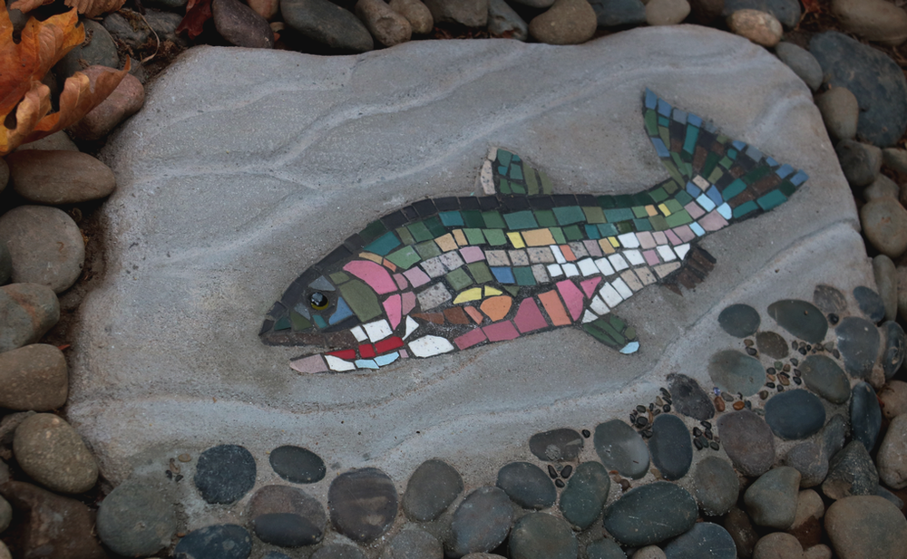 Cast concrete mosaic cutthroat trout