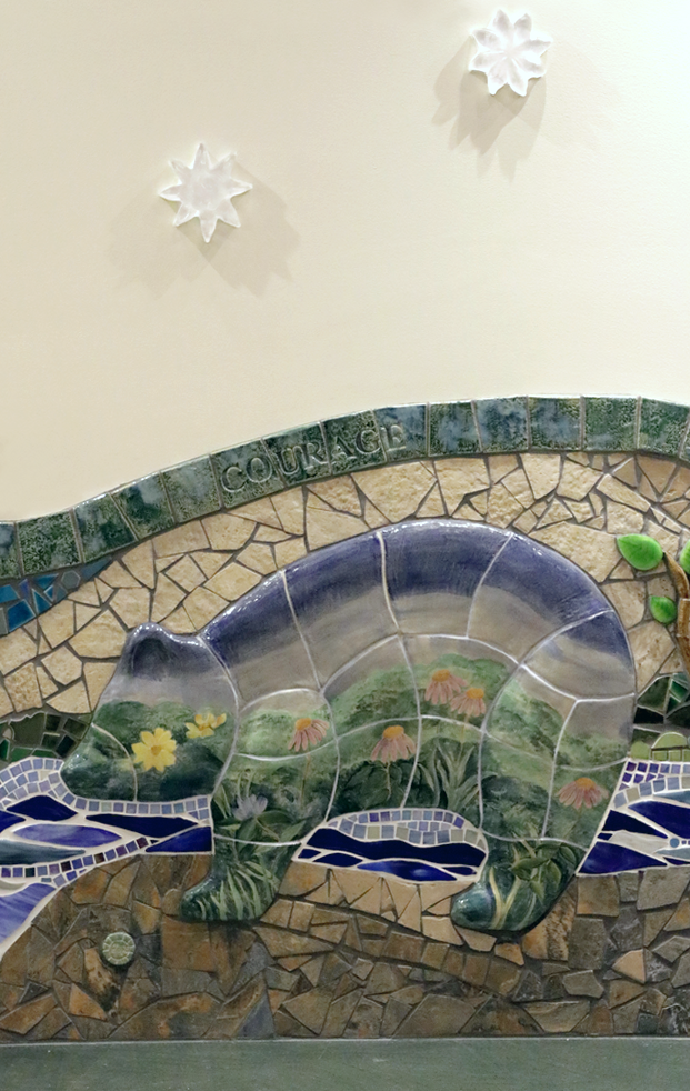 Mosaic mural detail, university. of Minneapolis Masonic children's Hospital, MN