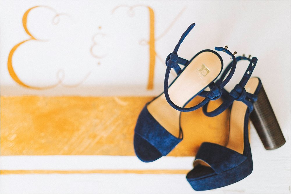 Blue shoes for rustic maui wedding
