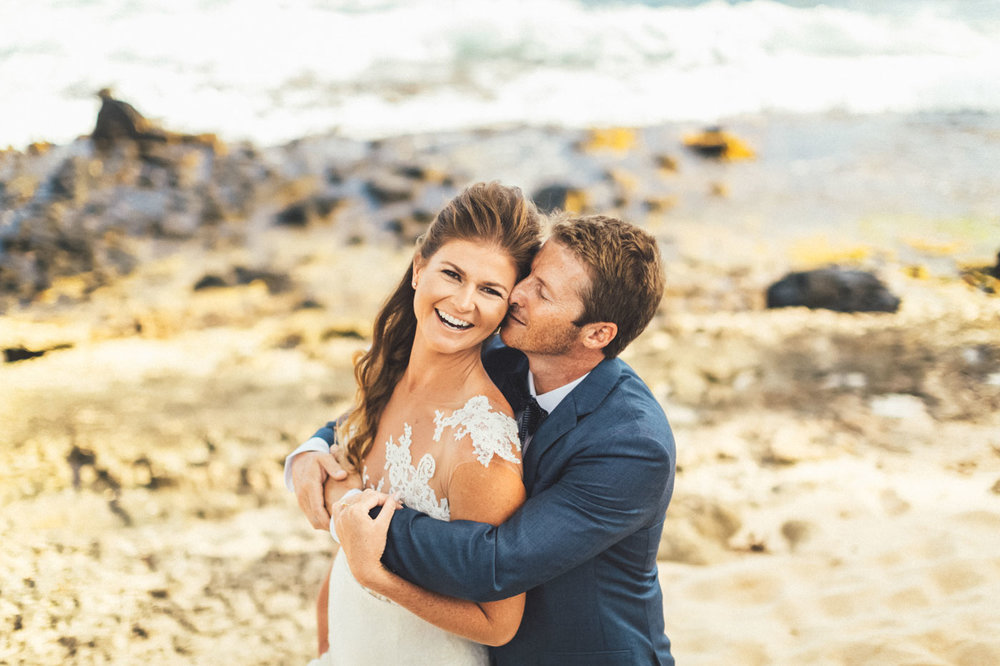 Bride and groom Kauai beach wedding first look