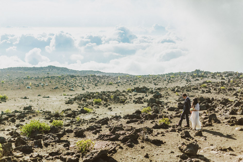 Haleakala crater wedding elopement photography in Maui