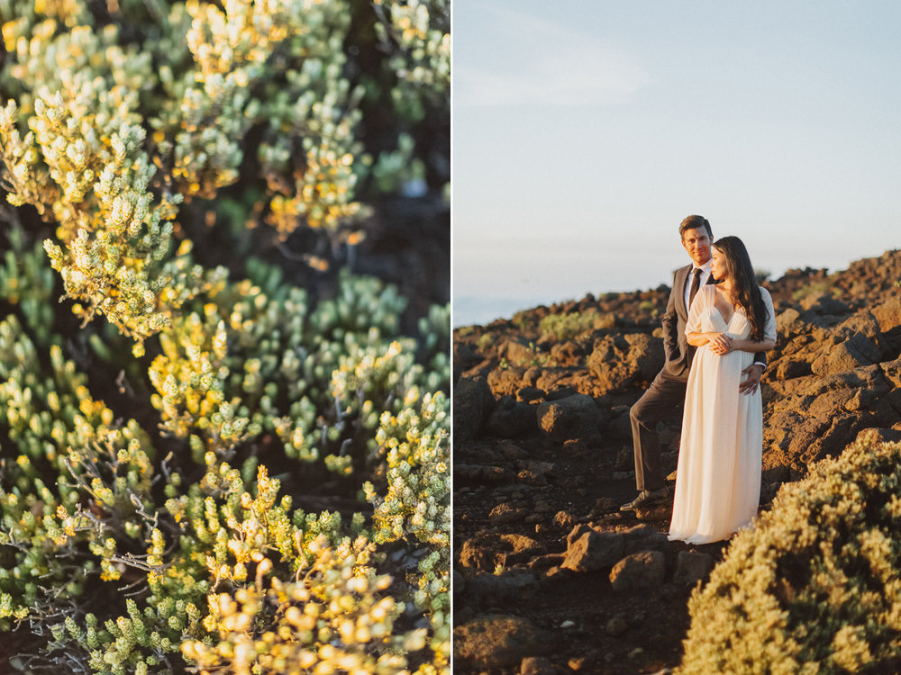 stunning maui elopement on top of volcano rock at sunset