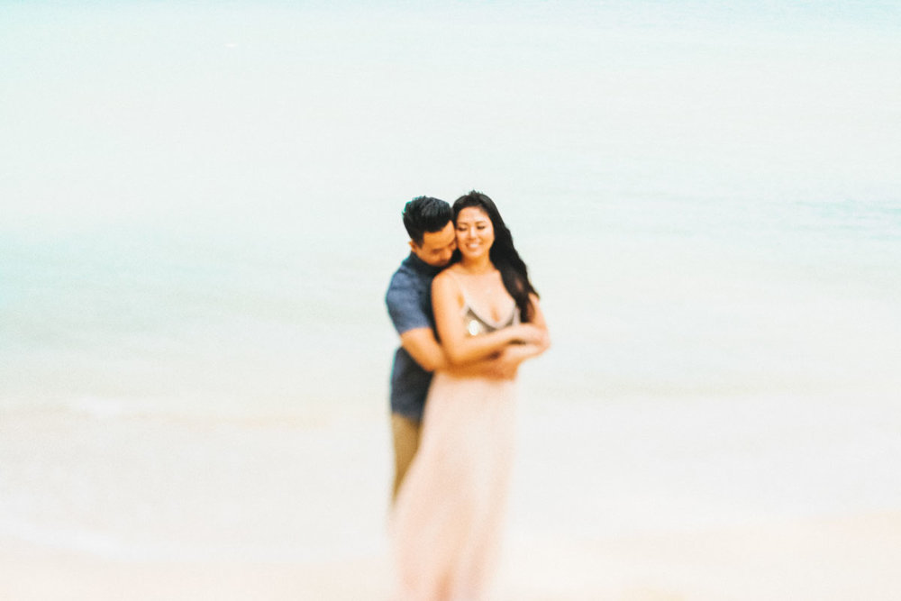 beautiful embrace by just engaged couple