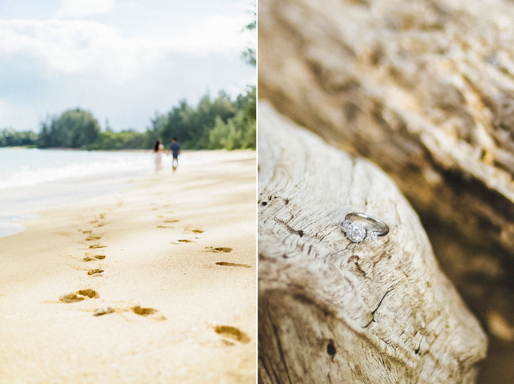 engagement ring and footprints in kanaha beach park in maui